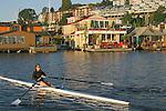 Seattle, Houseboats on Lake Union, rower at sunrise passing Westlake docks, Seattle neighborhoods,