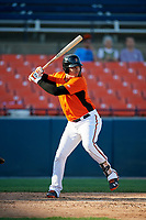 Frederick Keys third baseman Jomar Reyes (3B) at bat during the first game of a doubleheader against the Lynchburg Hillcats on June 12, 2018 at Nymeo Field at Harry Grove Stadium in Frederick, Maryland.  Frederick defeated Lynchburg 2-1.  (Mike Janes/Four Seam Images)