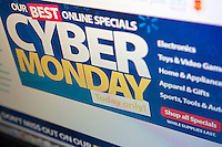 The Walmart website features cyber monday sales on Monday, December 2, 2013. While many retailers are offering specials online for CyberMonday, the so-called holiday dates back when most Americans had no broadband and limited internet access so they would shop on the first day back at work, using their employers faster internet. Now everyone shops online all year. (© Richard B. Levine)