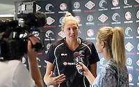 07.10.2015 Silver Ferns captain Casey Kopua at the naming of the Silver Ferns squad for the upcoming series against Australia. Mandatory Photo Credit ©Michael Bradley.