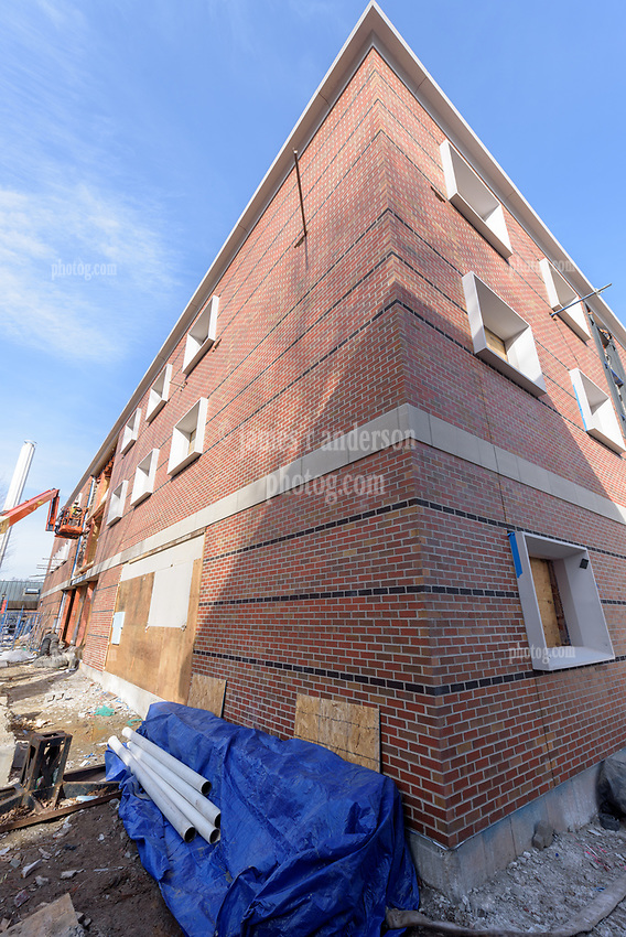 Major Renovation Litchfield Hall WCSU Danbury CT<br /> Connecticut State Project No: CF-RD-275<br /> Architect: OakPark Architects LLC  Contractor: Nosal Builders<br /> James R Anderson Photography New Haven CT photog.com<br /> Date of Photograph: 28 February 2017<br /> Camera View: 08 - West and South Elevations - Vertical Image