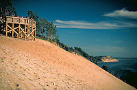 View of dunes at the National Lakeshore on Lake Michigan, sand dunes, scenic coastline. Sleeping Bear Dunes NLS Michigan USA.