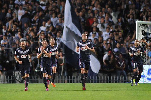 17.08.2014. Bordeaux, France. French League 1 football. Bordeaux versus Monaco.  DIEGO CONTENTO, EMILIANO SALA and  NICOLAS PALLOIS celebrate the Bordeaux goal