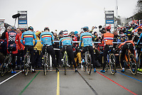 the 1st start line (based on the highest UCI-ranked riders) on the start grid counts 5 belgians, 2 dutchies &amp; an american<br /> <br /> Men's Elite Race<br /> <br /> UCI 2016 cyclocross World Championships,<br /> Zolder, Belgium