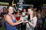 Overall Winner of the Advanced Section, Arlene Caffrey is presented with her trophy by Labfitness's Laura Armada at the Irish Pole Dancing Championships in aid of Crumlin Childrens Hospital in Fusion Night Club, Drogheda...Photo NEWSFILE/Jenny Matthews.(Photo credit should read Jenny Matthews/NEWSFILE)....This Picture has been sent you under the condtions enclosed by:.Newsfile Ltd..The Studio,.Millmount Abbey,.Drogheda,.Co Meath..Ireland..Tel: +353(0)41-9871240.Fax: +353(0)41-9871260.GSM: +353(0)86-2500958.email: pictures@newsfile.ie.www.newsfile.ie.FTP: 193.120.102.198.