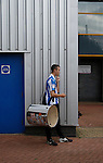 Huddersfield Town 1 Wolverhampton Wanderers 0, 27/08/2016. John Smith's Stadium, Championship. Huddersfield fan with a big drum. Photo by Paul Thompson.