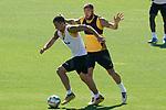 Getafe's Nemanja Maksimovic (l) and David Timor during training session. June 5,2020.(ALTERPHOTOS/Acero)