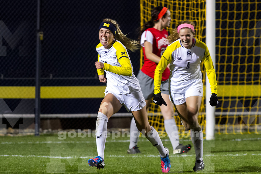 The University of Michigan women's soccer team; 2-0 victory over OSU at the UM Soccer Stadium in Ann Arbor MI. on November 2, 2013.