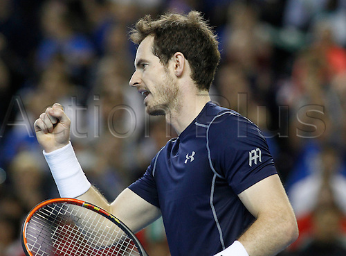 05.03.2016. Barclaycard Arena, Birmingham, England. Davis Cup Tennis World Group First Round. Great Britain versus Japan. Andy Murray of Great Britain celebrates hitting a winner during the doubles match between Great Britain's Andy Murray and Jamie Murray and Japan's Yoshihito Nishioka and Yasutaka Uchiyama on day 2 of the tie.  Andy Murray and Jamie Murray during their doubles match against Yoshihito Nishioka and Yasutaka Uchiyama. GB won in straight sets 6-3, 6-2, 6-4.