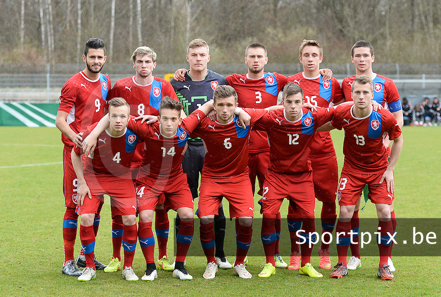 20150331 - WALLDORF , GERMANY  : Czech team pictured with Jindrich Stanek (1) , Miroslav Routek (3) , Jan Matej (4) , Martin Toml (5) , Daniel Trubac (6) , Jiri Kulhanek (8) , Jakub Yunis (9) , Erik Puchel (12) , Petr Rys (13) , Jan Suchan (14) and Jakub Sural (15) during the soccer match between Under 19 teams of Czech Republic and Germany , on the third and last matchday in group 2 of the UEFA Elite Round Under 19 at FC Astoria Stadion , Walldorf , Germany . Tuesday 31st March 2015 . PHOTO DAVID CATRY