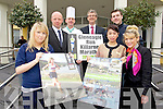 Launching the Killarney Marathon after party which takes place at the Gleneagle hotel were from left: Michelle O'Leary, Aqulia Club, Martin Brett, Deputy GM, John Drummond, Executive Chef, Patrick O'Donoghue, Piyanut Khotchkhot , Brehon Spa Oliver Kirwin, Race Organiser and Caroline Papin, Guest Relations.