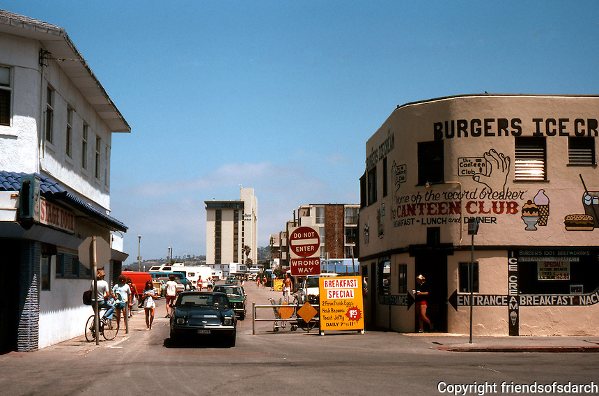 San Diego: Ocean Boulevard and Garnet, Pacific Beach.  (Photo 1982)