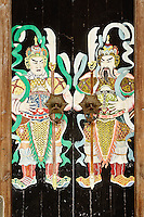 Doorway painted with ancient figures, She County, China