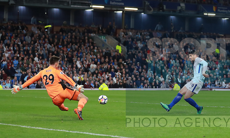 Alvaro Morata of Chelsea shoots wide with only Nick Pope of Burnley to beat during the premier league match at the Turf Moor Stadium, Burnley. Picture date 19th April 2018. Picture credit should read: Simon Bellis/Sportimage