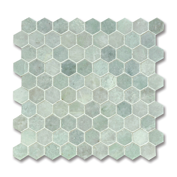 3 cm Hex, shown in polished Ming Green is part of New Ravenna's Studio Line of ready to ship mosaics.