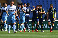 Emanuel Vignato of AC Chievo Verona celebrates after scoring goal of 0-1 as Luis Alberto and Ciro Immobile of Lazio look dejected during the Serie A 2018/2019 football match between SS Lazio and AC Chievo Verona at stadio Olimpico, Roma, April, 20, 2019 <br /> Photo Antonietta Baldassarre / Insidefoto