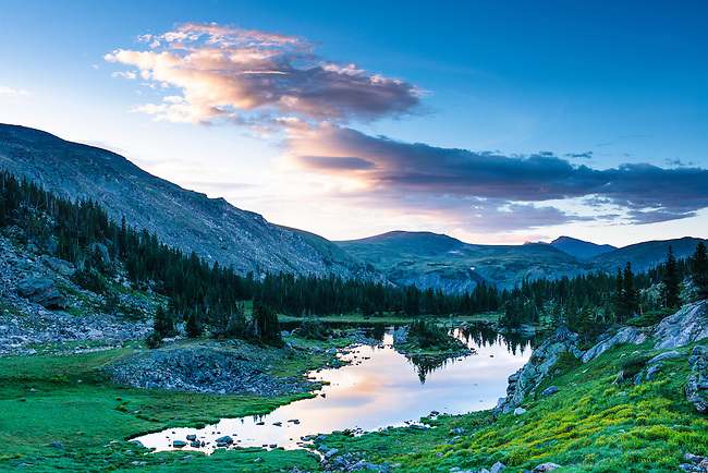 Haynach Lakes, early morning in summer,  Rocky Mountain National Park, Colorado, USA