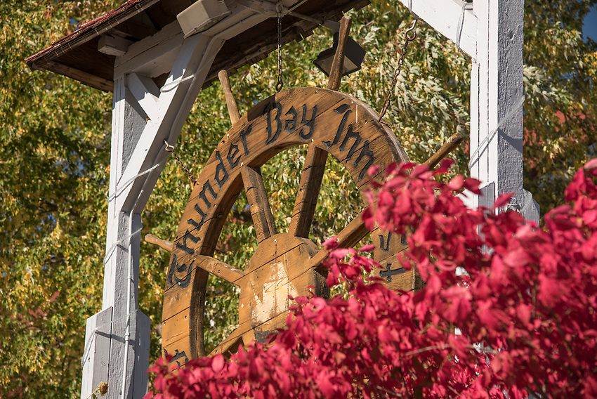 Sign for the Thunder Bay Inn at Big Bay, Michigan along Country Road 550.