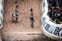 Eva Lechner (ITA/Creafin-Fristads) and Yara Kastelijn (NED/777) duelling in the infamous 'Pit'<br /> <br /> <br /> CX Superprestige Zonhoven (BEL) 2019<br /> women's race