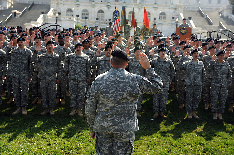 The U.S. Army Reserve commemorated its 100th anniversary  by conducting a mass re-enlistment of 100 soldiers on the west front of the Capitol.