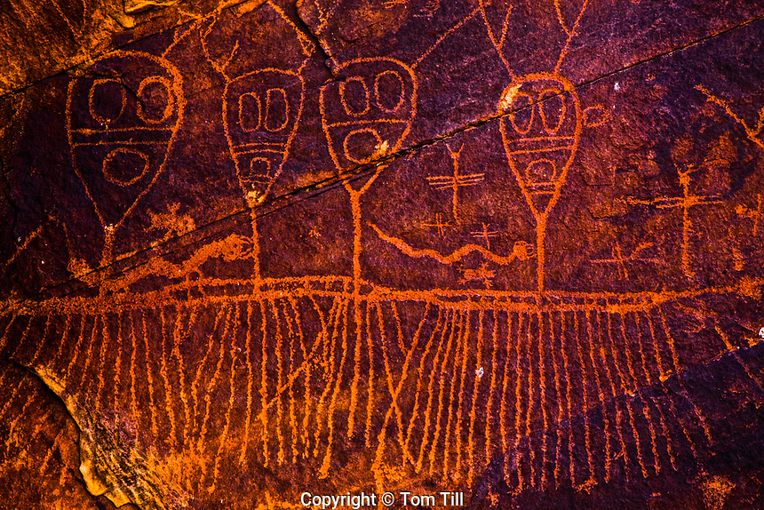 Palavayu anthropomorph petroglyphs,<br /> rock art figures believed to represent rain gods,   &quot;The Choir Boys&quot;<br /> Colorado Plateau, Arizona<br /> Archaic art up to 8,000 years old