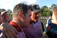 September 24th, 2006. European  Ryder Cup team players Darren Clarke and Lee Westwood celebrate after their team won the singles final session of the last day of the 2006 Ryder Cup at the K Club in Straffan,. County Kildare in the Republic of Ireland...Photo: Eoin Clarke/ Newsfile..