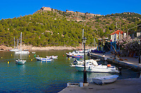 View of Assos with the Venetian Isalnd fortifications. Kefalonia; Greek Ionian Islands