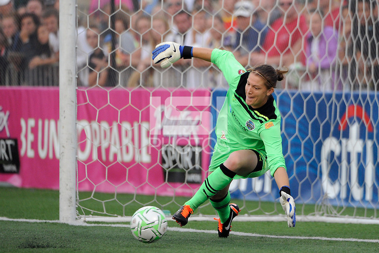 Philadelphia Independence goalkeeper Nicole Barnhart (23) fails to make the save during the penalty kick shoot out. The Western New York Flash defeated the Philadelphia Independence 5-4 in a penalty kick shootout after playing to a 1-1 tie during the Women's Professional Soccer (WPS) Championship presented by Citi at Sahlen's Stadium in Rochester NY, on August 27, 2011.