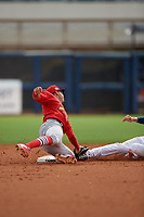 Palm Beach Cardinals second baseman Rayder Ascanio (3) attempts to tag Zach Rutherford (15) stealing second during a Florida State League game against the Charlotte Stone Crabs on April 14, 2019 at Charlotte Sports Park in Port Charlotte, Florida.  Palm Beach defeated Charlotte 5-3.  (Mike Janes/Four Seam Images)