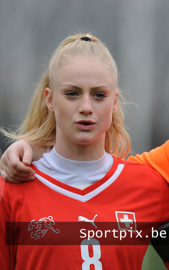 20160211 - TUBIZE , BELGIUM : Switzerland's Alisha Lehmann pictured during the friendly female soccer match between Women under 17 teams of  Belgium and Switzerland , in Tubize , Belgium . Thursday 11th February 2016 . PHOTO SPORTPIX.BE DIRK VUYLSTEKE