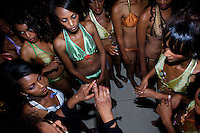 An organizer gives instructions backstage to a group of contenders for the crown during the 2009 MIss Ethiopia beauty pageant held at the Intercontinental Hotel in Ethiopia's Capital Addis Ababa on Sunday January 18 2009.