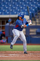 AZL Rangers Alexander Ovalles (10) at bat during an Arizona League game against the AZL Brewers Blue on July 11, 2019 at American Family Fields of Phoenix in Phoenix, Arizona. The AZL Rangers defeated the AZL Brewers Blue 5-2. (Zachary Lucy/Four Seam Images)