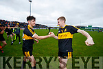 Tony Brosnan  and Gavin O'Shea Dr Crokes players celebrate after defeating South Kerry in the Senior County Football Final in Austin Stack Park on Sunday