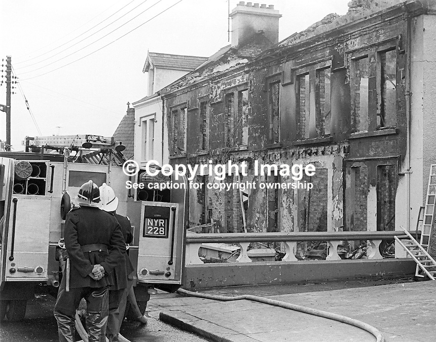 Firemen were still at the Royal Hotel, Whitehead, the morning after its owner, Larry McMahon, Newtownabbey, Co Antrim, married, 4 children, Roman Catholic, was murdered at his Newtownabbey home. He was murdered by the UVF, Ulster Volunteer Force, a loyalist paramilitary organization, on 15th March 1973. An explosive device detonated killing him instantly when he went to investigate a noise at his front door at 21.45. His wife and some of his children were also injured. Mr McMahon's success was a rags to riches story. He started off as a barman and ended up owning the Royal Hotel in Whitehead and a chain of betting shops as well as three pubs. 197303150134f<br />