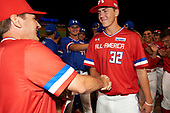 Matthew Liberatore (32) of Mountain Ridge High School in Peoria, Arizona shakes hands with Steve Bernhardt after being named the game MVP for the Under Armour All-American Game presented by Baseball Factory on July 29, 2017 at Wrigley Field in Chicago, Illinois.  (Mike Janes/Four Seam Images)