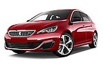 Stock pictures of low aggressive front three quarter view of 2015 Peugeot 308 GT 5 Door Hatchback Low Aggressive