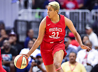 Washington, DC - August 17, 2018: Washington Mystics forward Tianna Hawkins (21) in action during game between the Washington Mystics and Los Angeles Sparks at the Capital One Arena in Washington, DC. (Photo by Phil Peters/Media Images International)