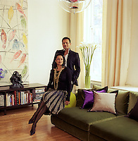 Ranjana and Naeem Khan in the elegant and spacious living area of their Soho loft
