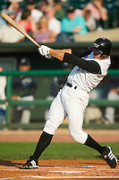 Louisville first baseman Joey Votto (5) follows through on his swing versus Charlotte at Louisville Slugger Field in Louisville, KY, Tuesday, June 5, 2007.