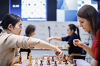 31st December 2019, Moscow, Russia; Tan Zhongyi L of China and Anna Muzychuk of Ukraine compete in the Blitz Women final round at 2019 King Salman World Rapid & Blitz Chess Championship in Moscow, Russia
