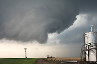 Rotating severe thunderstorm near a storage tank in La Crosse, KS, May 25, 2008
