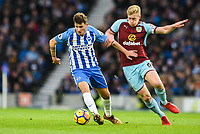 Pascal Gross of Brighton & Hove Albion (13) In action with Ben Mee of Burnley (6)  during the EPL - Premier League match between Brighton and Hove Albion and Burnley at the American Express Community Stadium, Brighton and Hove, England on 16 December 2017. Photo by Edward Thomas / PRiME Media Images.