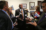 Assembly Speaker Marilyn Kirkpatrick and Majority Leader William Horne answer media questions at the Legislative Building in Carson City, Nev. on Tuesday, Feb. 5, 2013. Embattled Assemblyman Steven Brooks, D-North Las Vegas, changed his plans about a medical leave and Democratic leadership announced that Brooks would be returning to work in the morning..Photo by Cathleen Allison