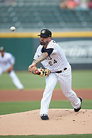 Charlotte Knights starting pitcher Hector Santiago (24) in action against the Gwinnett Braves at BB&T BallPark on July 14, 2019 in Charlotte, North Carolina.  The Stripers defeated the Knights 5-4. (Brian Westerholt/Four Seam Images)