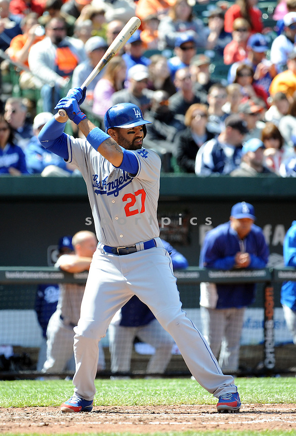 Los Angeles Dodgers Matt Kemp (27)  during a game against the Baltimore Orioles on April 21, 2013 at Oriole Park in Baltimore, MD. The Dodgers beat the Orioles 7-4.