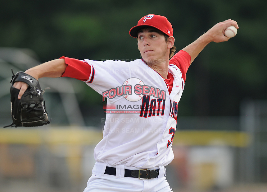 July 16, 2009: LHP Will Atwood (34) of the Potomac Nationals, Carolina League affiliate of the Washington Nationals, in a game against the Lynchburg Hillcats at G. Richard Pfitzner Stadium in Woodbridge, Va. Photo by:  Tom Priddy/Four Seam Images