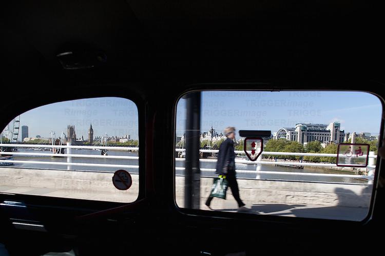 Westward view from a taxi crossing Waterloo bridge, London, England, United Kingdom