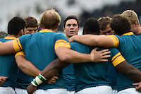 Francois Louw of South Africa looks on in a huddle during the pre-match warm-up. Rugby World Cup Pool B match between South Africa and the USA on October 7, 2015 at The Stadium, Queen Elizabeth Olympic Park in London, England. Photo by: Patrick Khachfe / Onside Images