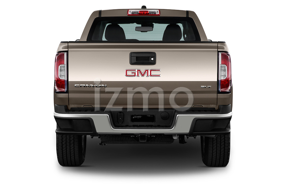 Straight rear view of a 2015 GMC Canyon Slt 4 Door Pickup 2WD Rear View  stock images