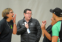 Minister of Sport Grant Robertson (centre) entertains P.I.C coach Waimarama Taumaunu (left) and club president Martha Taru. Value Of Sport Launch at ASB Sports Centre in Wellington, New Zealand on Saturday, 17 March 2018. Photo: Dave Lintott / lintottphoto.co.nz